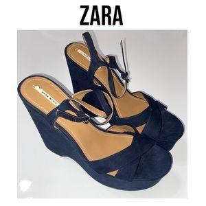 ZARA Suede Navy platform sandals